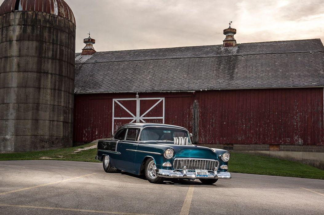 1955 Chevrolet Chevy Bel Air Belair Coupe Pro Street Super Drag USA -04 wallpaper
