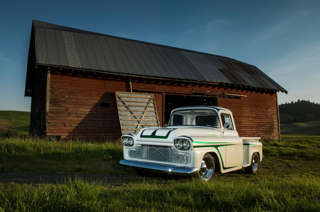 1958 Chevrolet Chevy Apache 3100 Pickup Stepside Custim Old School USA -01 wallpaper
