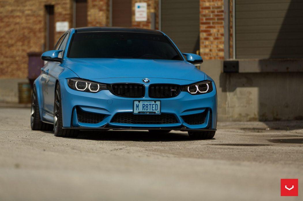 BMW-M3 Vossen Forged wheels cars sedan blue matt wallpaper