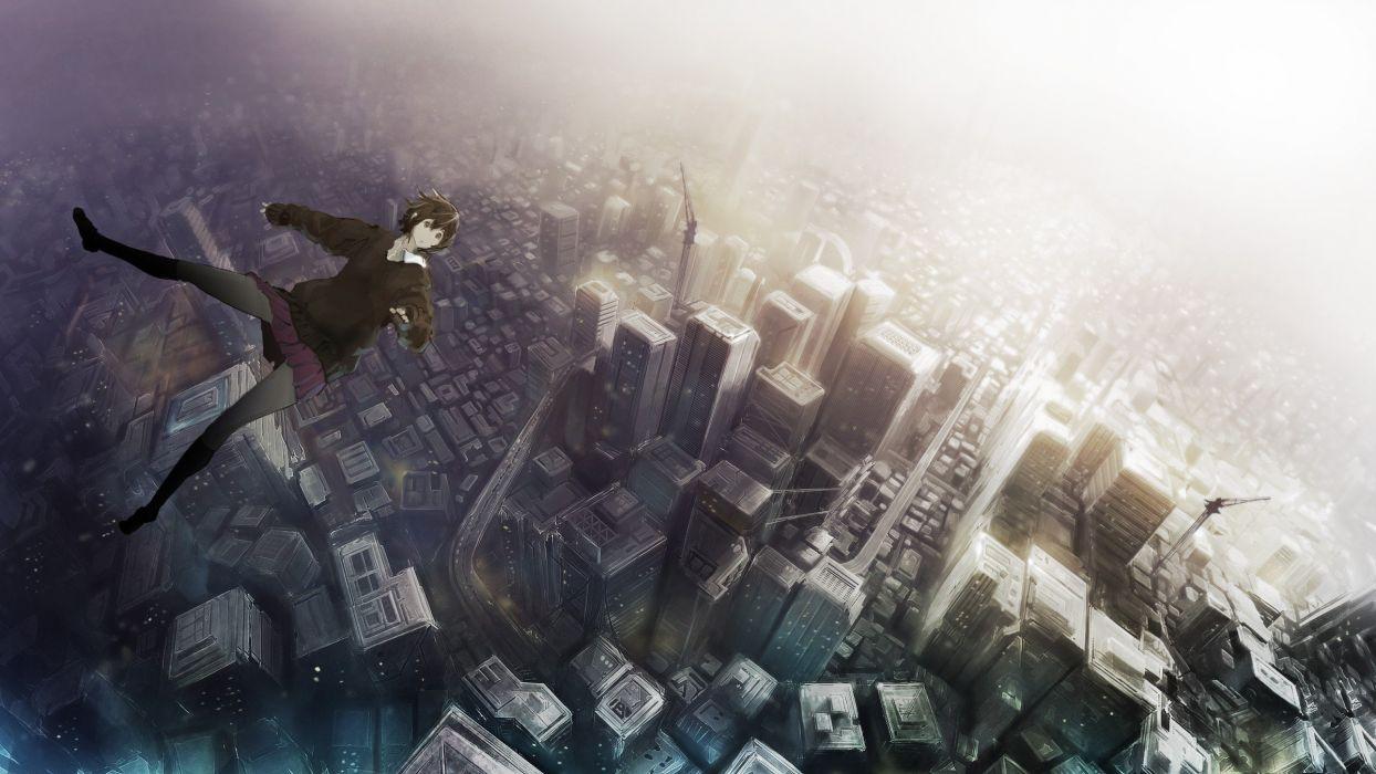anime girl city fly wallpaper