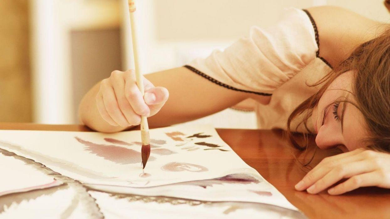 girl painting cute female wallpaper