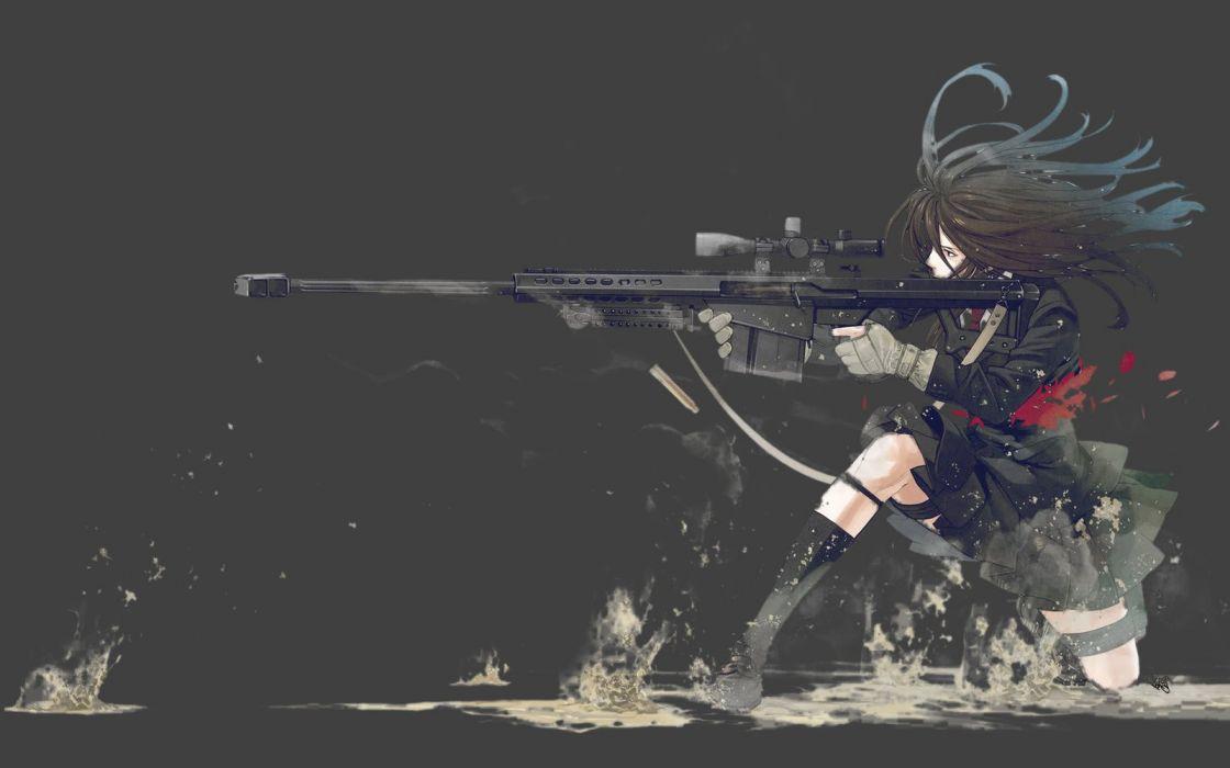 anime girl weapon school uniform wallpaper