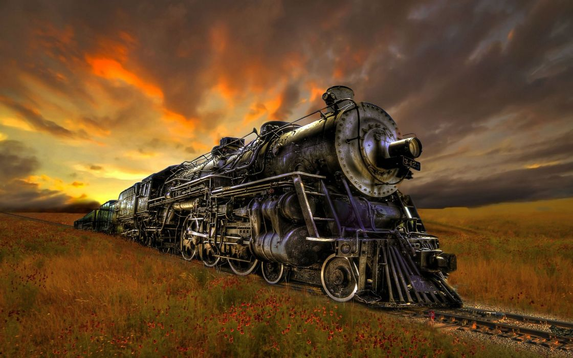 train railroad tracks locomotive engine tractor railway wallpaper