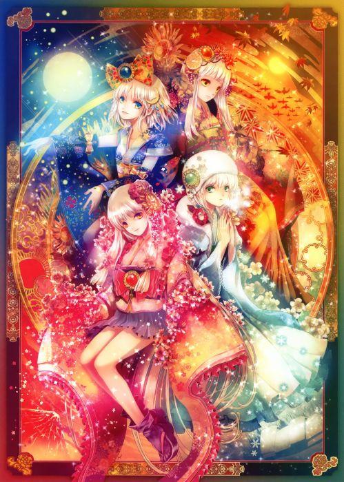original anime girl kimono cute beautiful dress long hair girls wallpaper