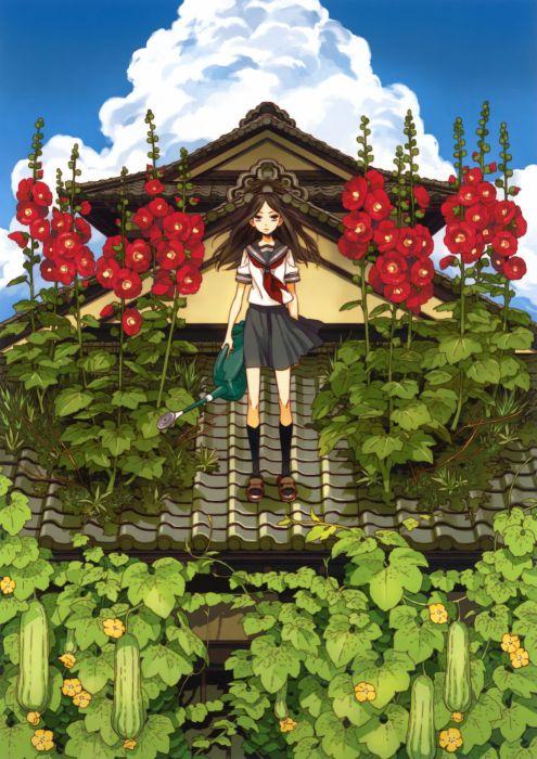 original anime girl school uniform flower cute beautiful dress long hair wallpaper