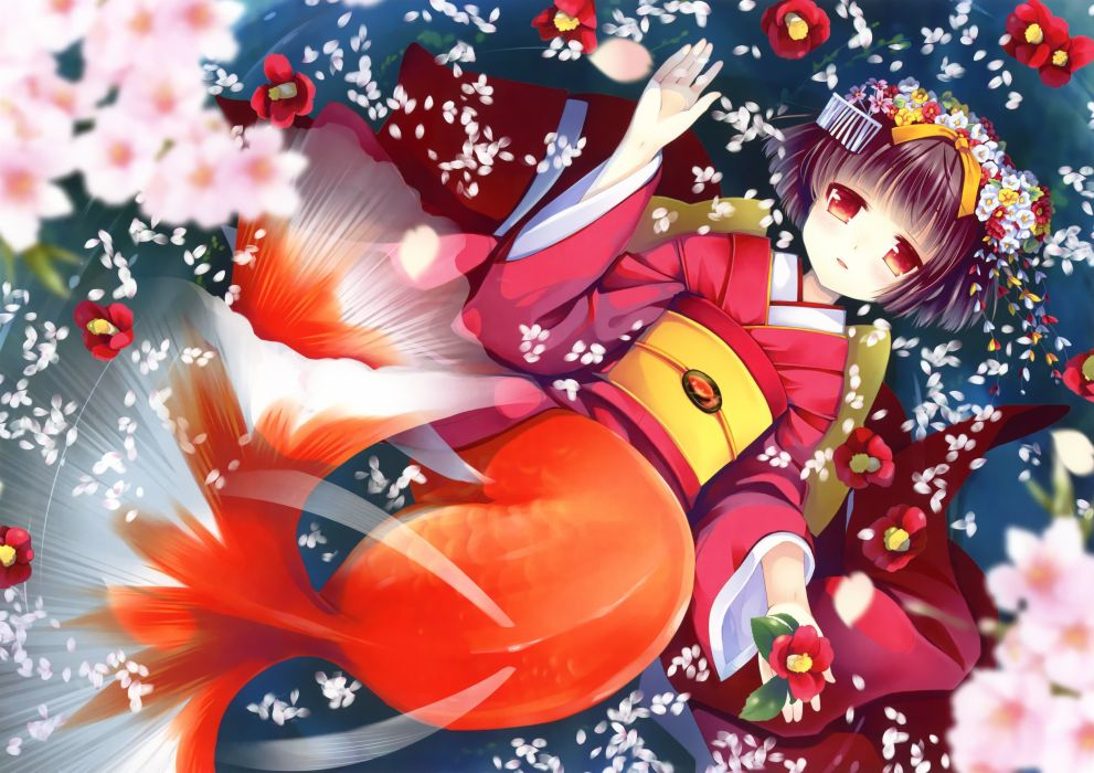 original anime girl kimono cute beautiful dress long hair flowers wallpaper