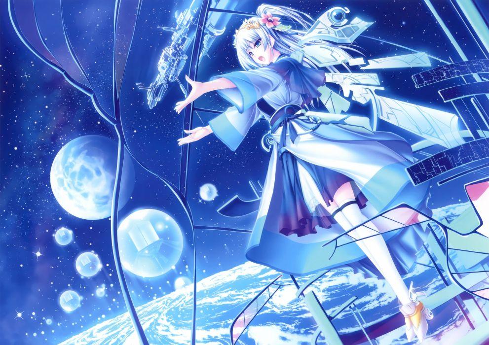 original anime girl blue cute beautiful dress long hair wallpaper