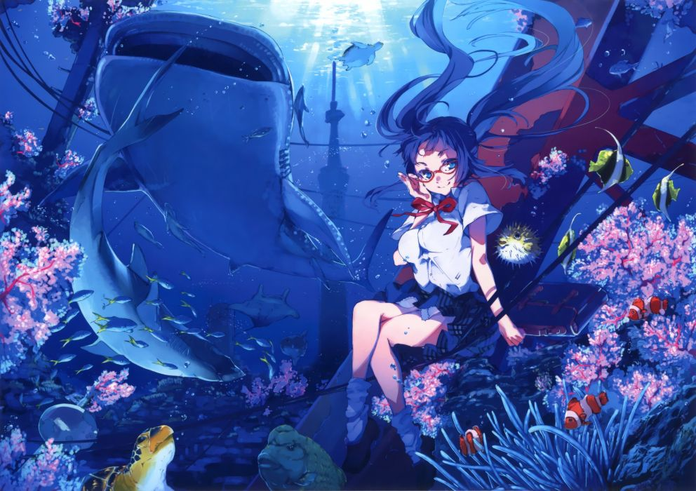 original anime girl school uniform sea under cute beautiful dress long hair wallpaper