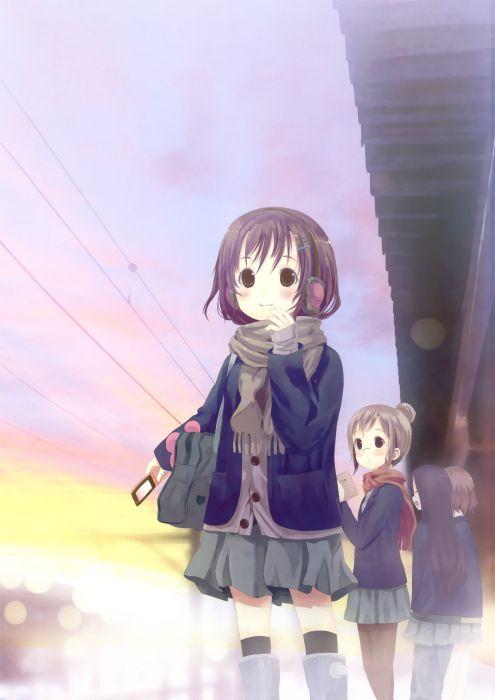 original anime girl school uniform cute beautiful dress long hair wallpaper