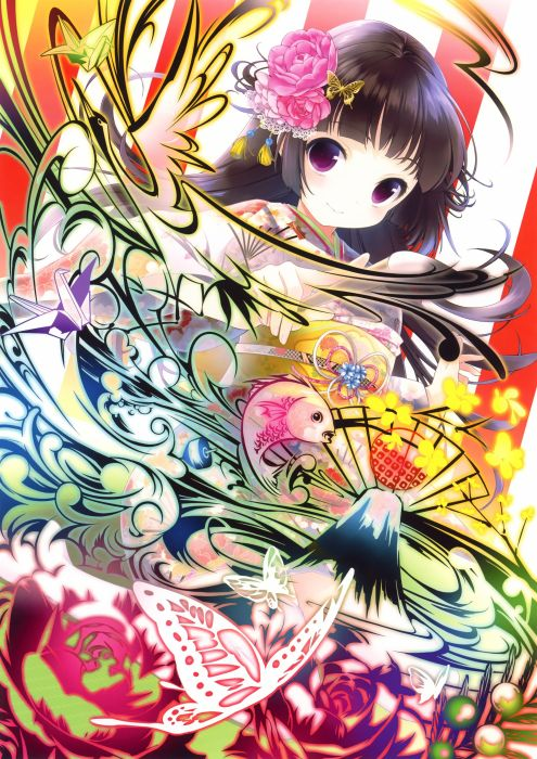 original anime girl kimono cute beautiful dress long hair flower wallpaper