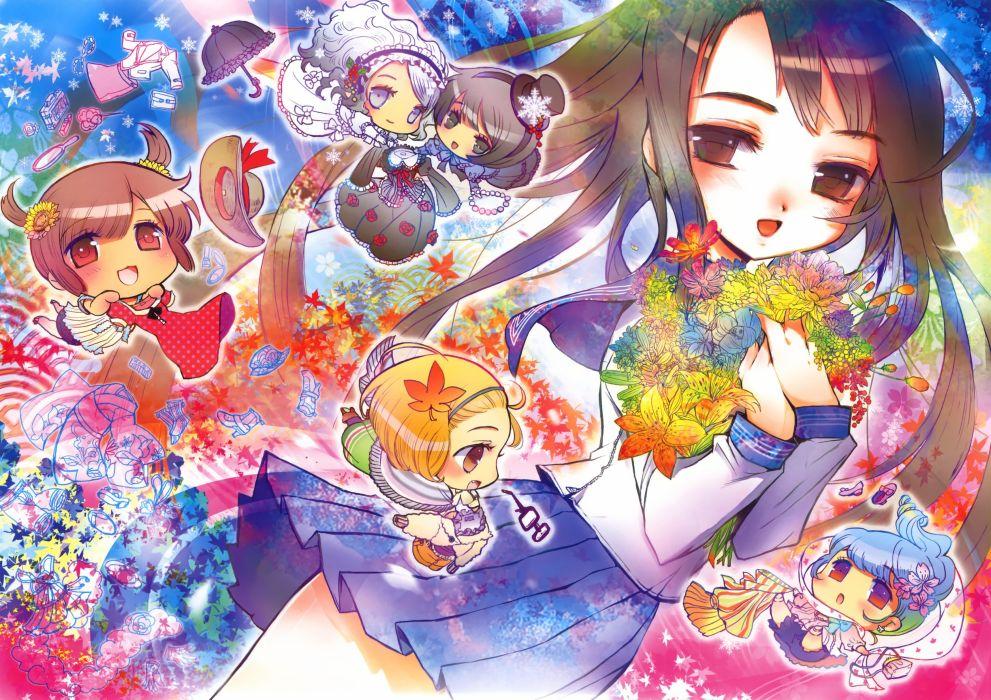original anime girl school uniform cute flower girls beautiful dress long hair wallpaper