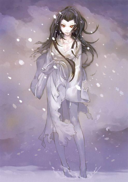 original anime girl kimono cute beautiful dress long hair snow wallpaper