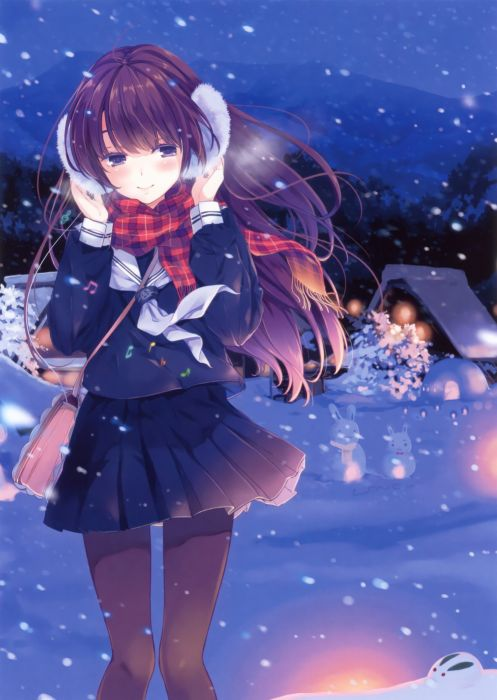 original anime girl school uniform winter cute beautiful dress long hair wallpaper