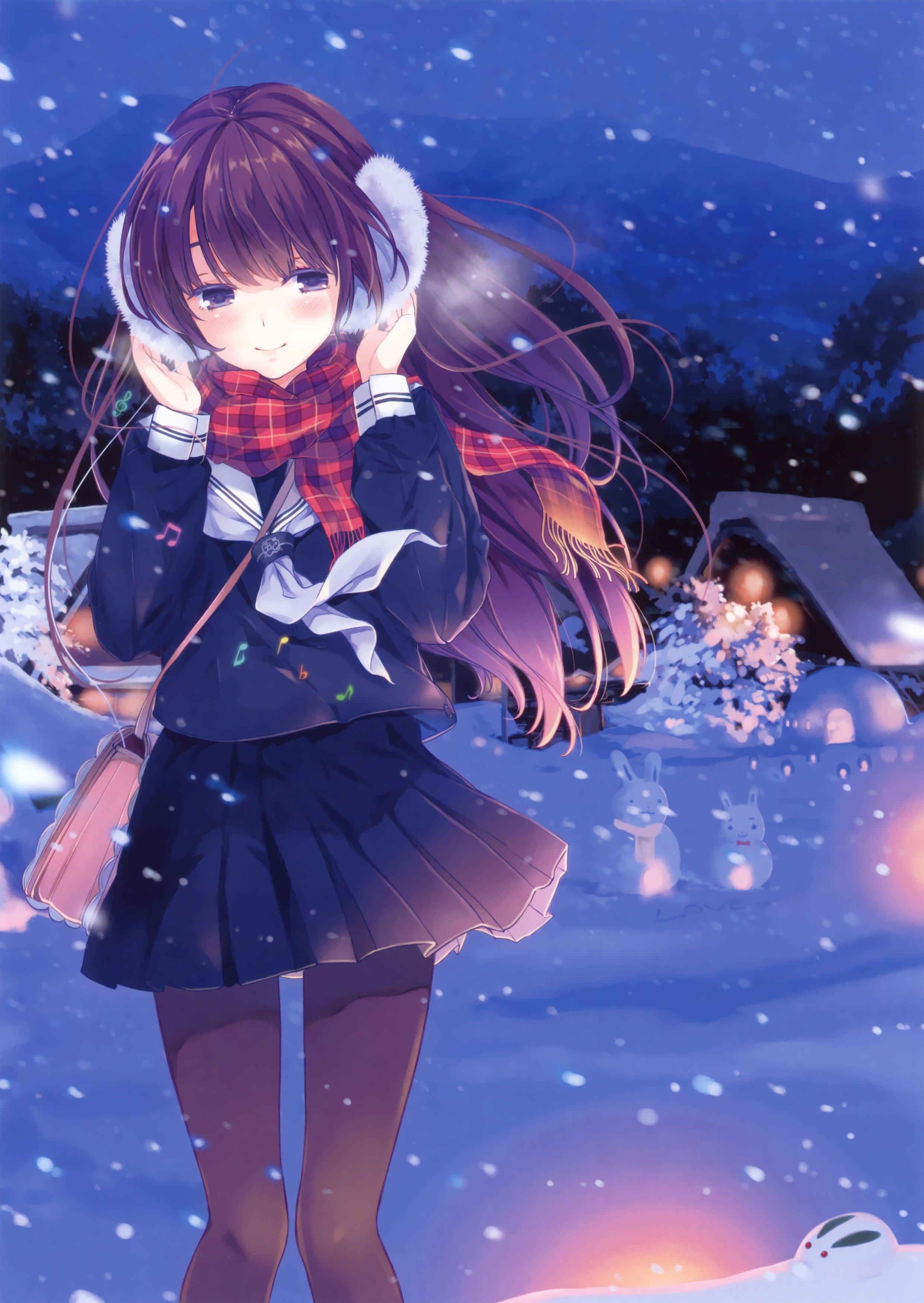 Original anime girl school uniform winter cute beautiful dress