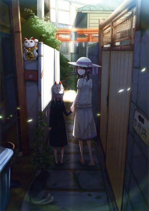 original anime girl mask girls cute beautiful dress long hair wallpaper
