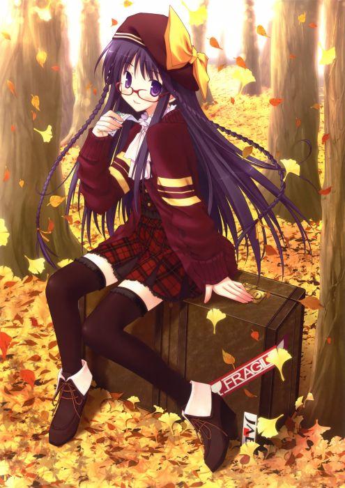 original anime girl school uniform leaves autumn cute beautiful dress long hair wallpaper