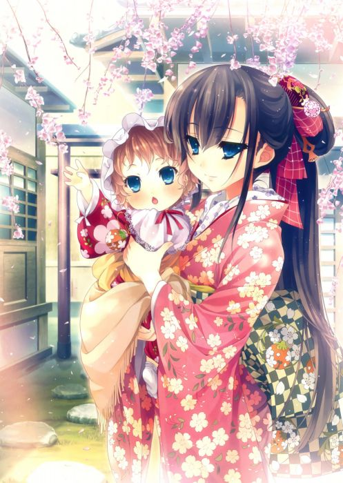 original anime girl kimono cute beautiful dress long hair baby wallpaper