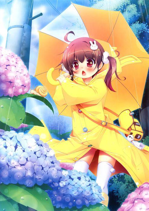 original anime girl umbrella children cute beautiful dress long hair wallpaper