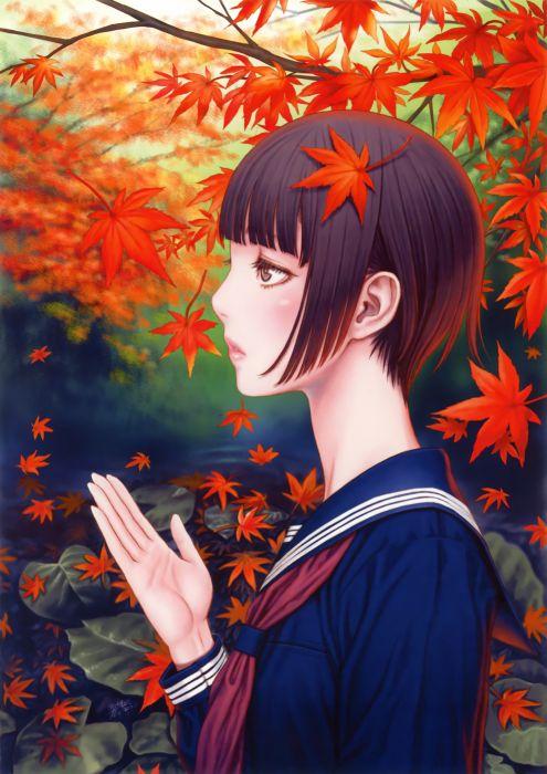 original anime girl school uniform cute beautiful dress short hair autumn leaves wallpaper