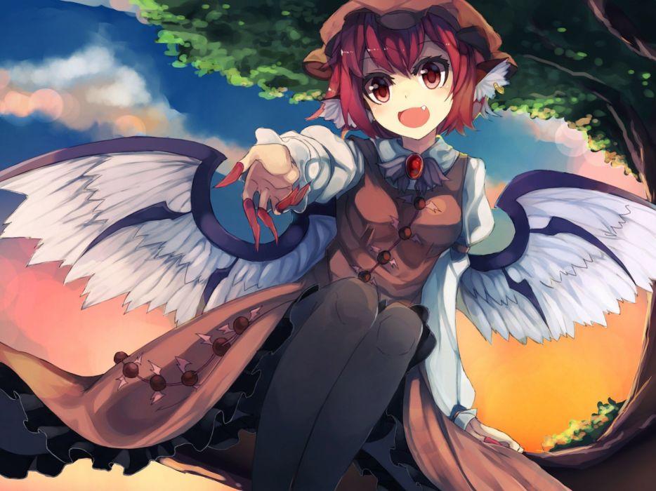 original anime girl wings smile cute beautiful dress long hair wallpaper