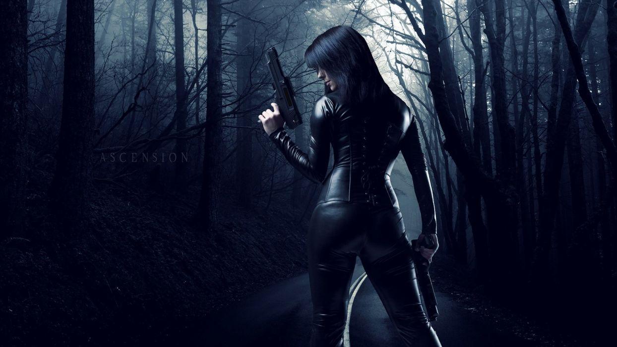 Woman Spy Weapon Long Hair Forest Dark Wallpaper