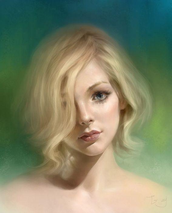 Beautiful Girl Blonde Short Hair Face Painting Original Wallpaper
