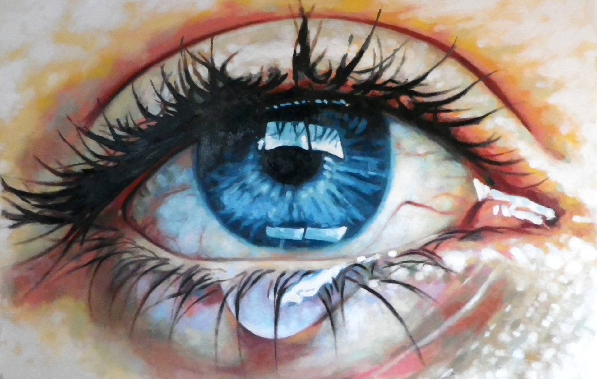 Oil art painting blue eyes beauty beautiful realistic ...