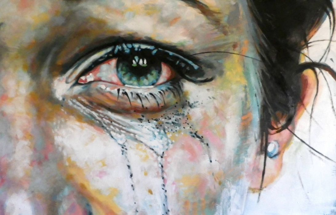 Painting Woman Black Face Large Eye Abstract