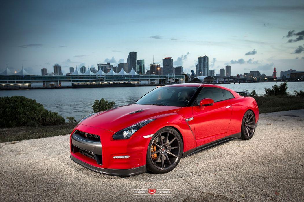 Nissan GTR Red Vossen Wheels Cars Coupe Wallpaper