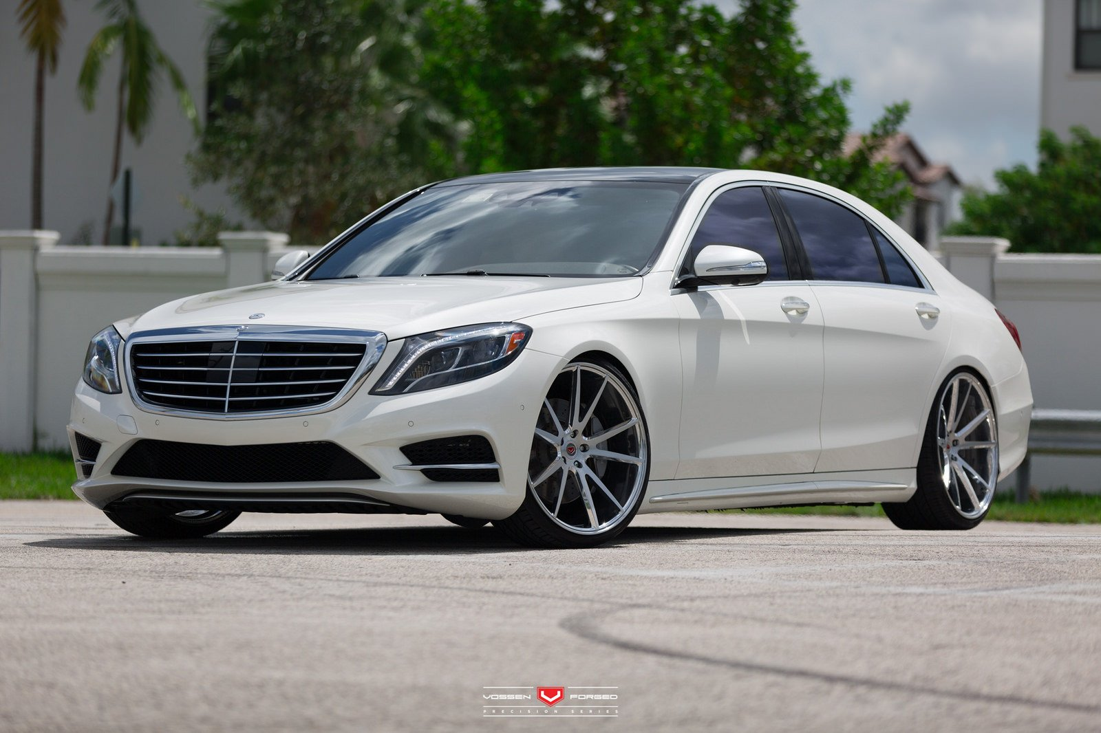 Mercedes s550 white sedan vossen wheels cars wallpaper for Mercedes benz in louisiana