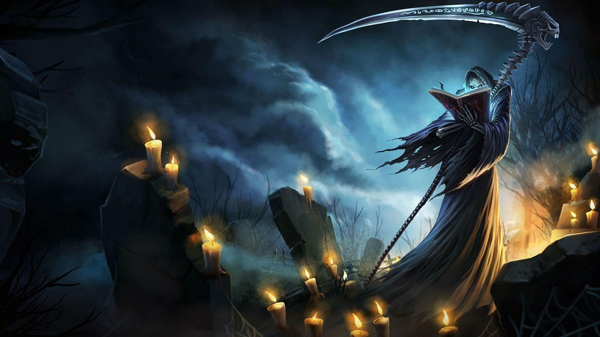 league legends fantasy art artwork warrior dark halloween reaper wallpaper 1920x1080 821871 wallpaperup