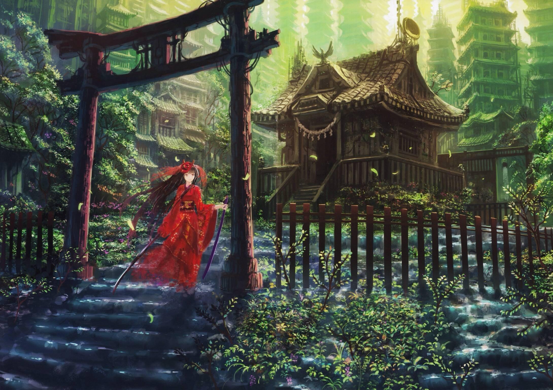 anime girl beautiful long hair dress flower cute kimono
