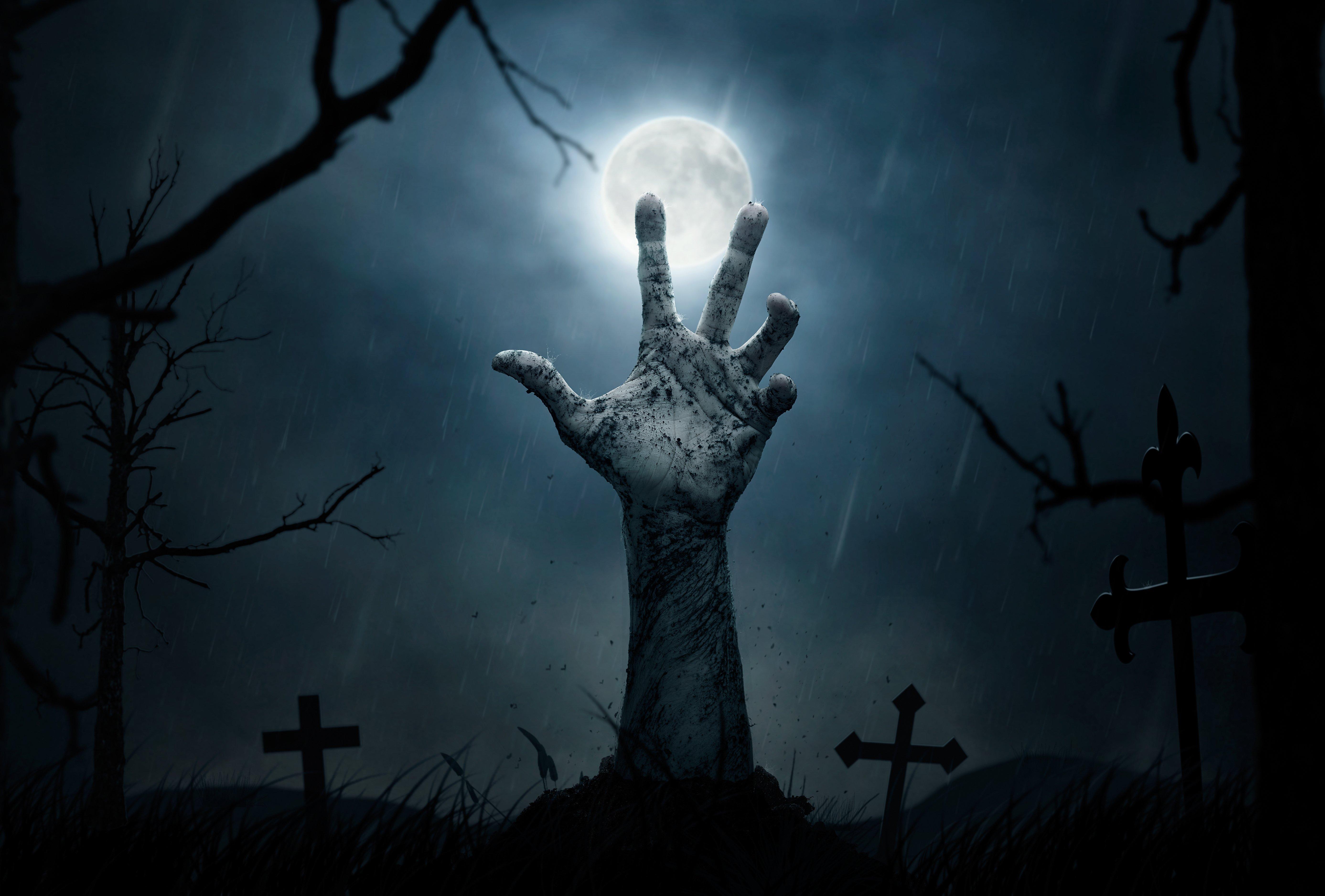 Zombie Cenmenterio Mano Halloween Wallpaper