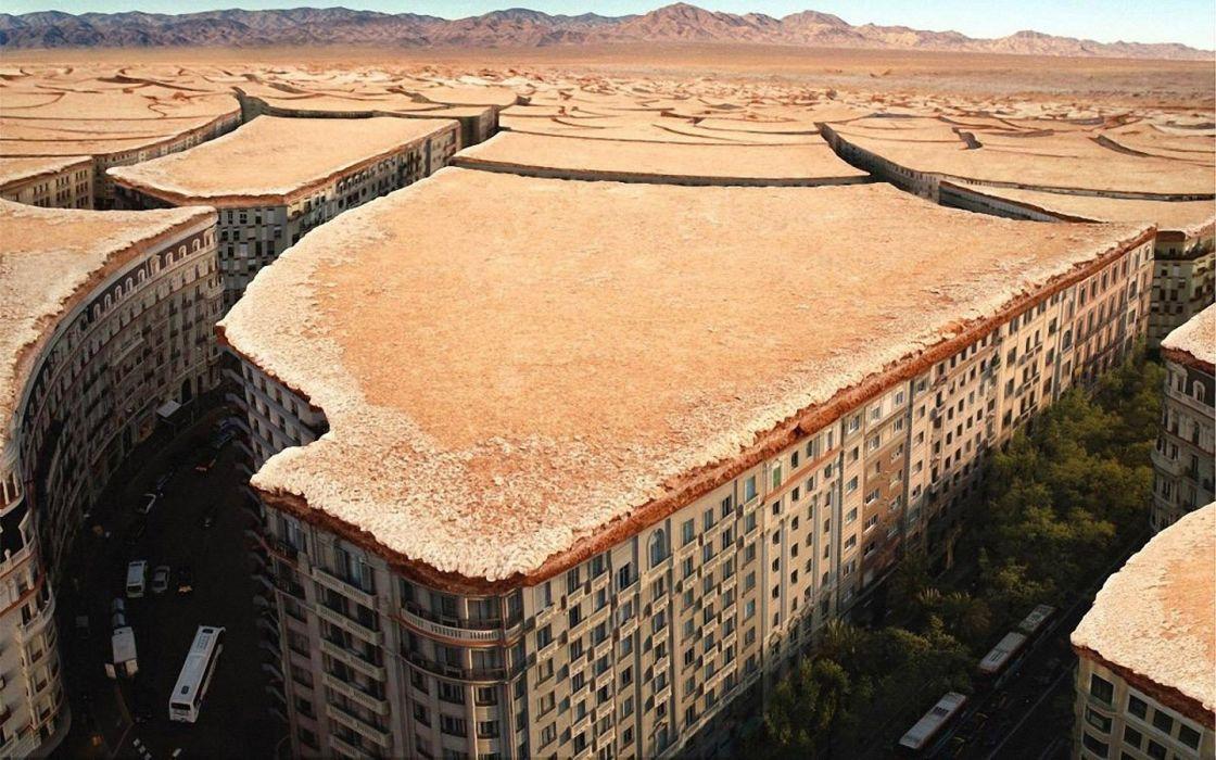 Rough soil fantasy city wallpaper