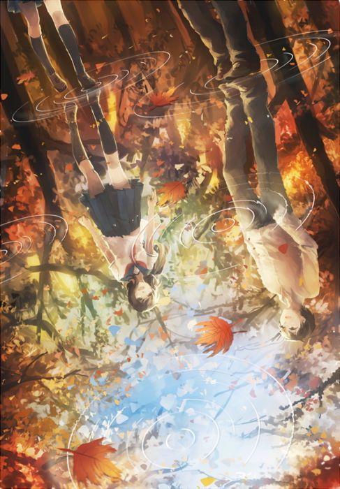 leaves water rain couple anime girl guy autumn wallpaper