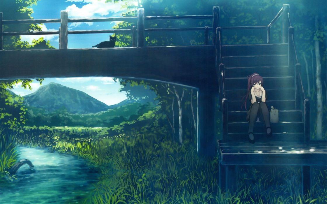 Bakemonogatari Bridge Black Cat Anime Series Girl Wallpaper 1920x1200 826766 Wallpaperup