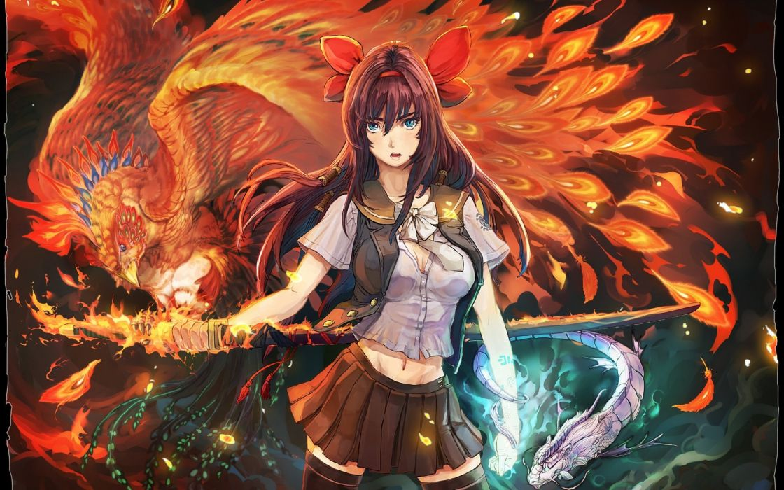 Anime girl fire sword animal bird phoenix long hair - Anime girls with fire ...