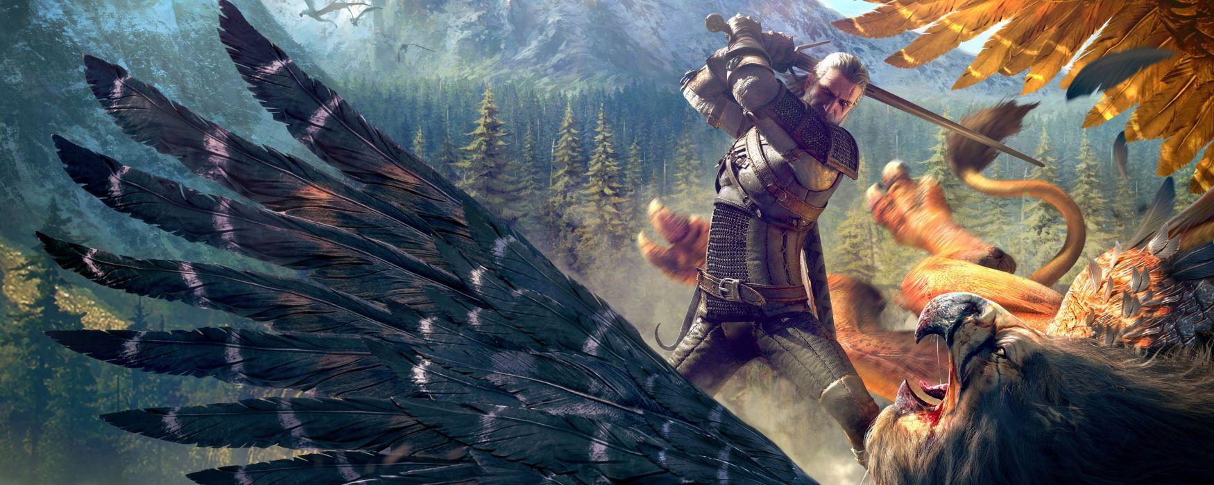 WITCHER 3 WILD HUNT fantasy action fighting warrior dark poster dual multi wallpaper