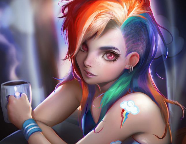 anthropomorphism cropped my little pony my little pony- friendship is magic rainbow dash realistic sakimichan wallpaper
