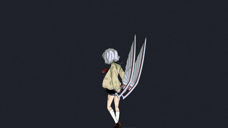 amamiya kyouka karasuma wataru not lives seifuku short hair skirt weapon white hair wallpaper