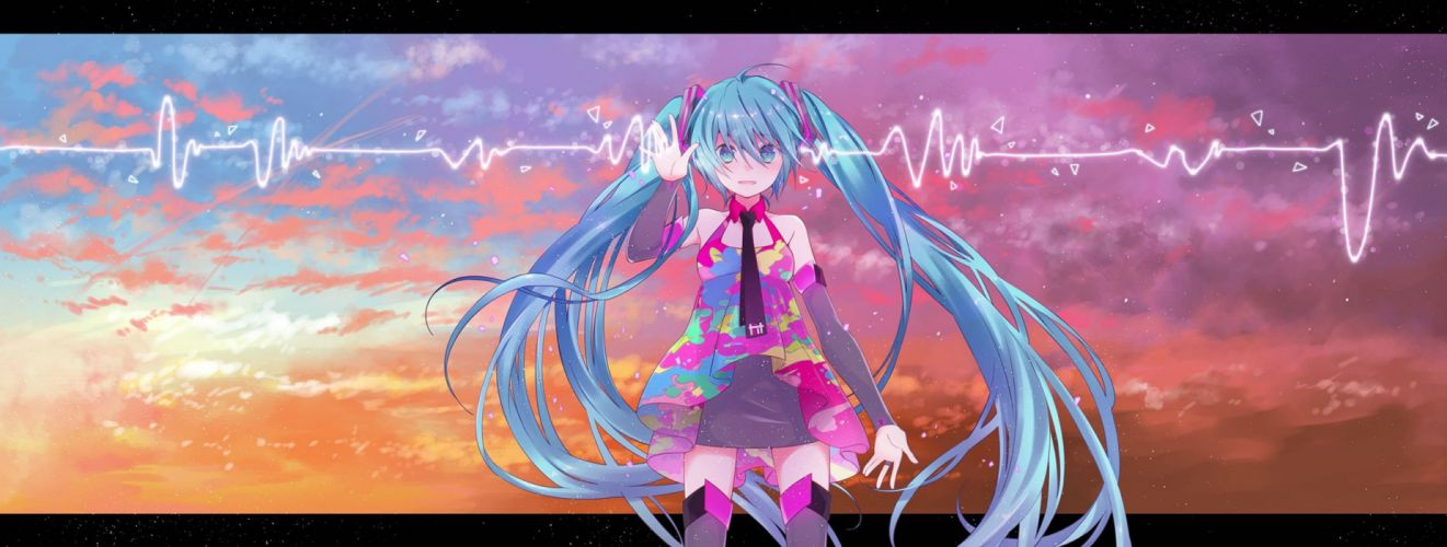 aqua eyes aqua hair clouds dualscreen hatsune miku long hair sky sunset thighhighs twintails vocaloid wogura wallpaper