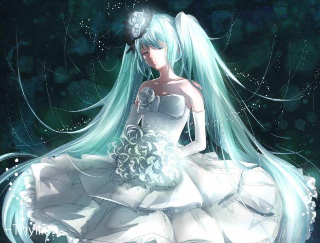 aqua hair elbow gloves flowers hatsune miku long hair thyme twintails vocaloid wedding attire wallpaper
