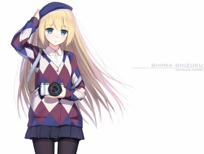 blonde hair blue eyes camera hat long hair original pantyhose seifuku yuri shoutu wallpaper