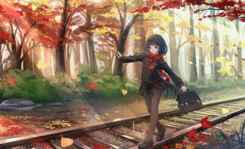 autumn black hair kikivi leaves long hair original pantyhose scarf seifuku train tree wallpaper