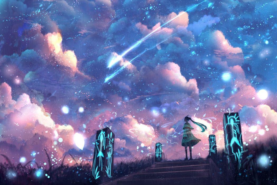 bou nin clouds dress long hair magic original polychromatic ponytail sky stairs wallpaper