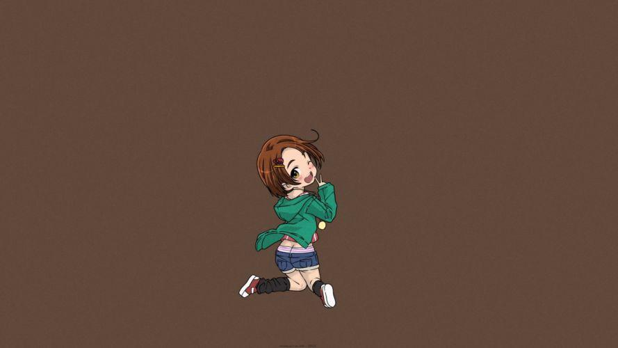 brown brown hair chibi idolmaster cinderella girls panties ryuuzaki kaoru saeki tatsuya short hair shorts underwear wallpaper
