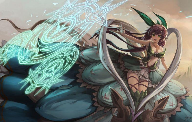 breasts cleavage eruthika granblue fantasy green eyes long hair magic navel red hair skirt yggdrasill (granblue fantasy) wallpaper