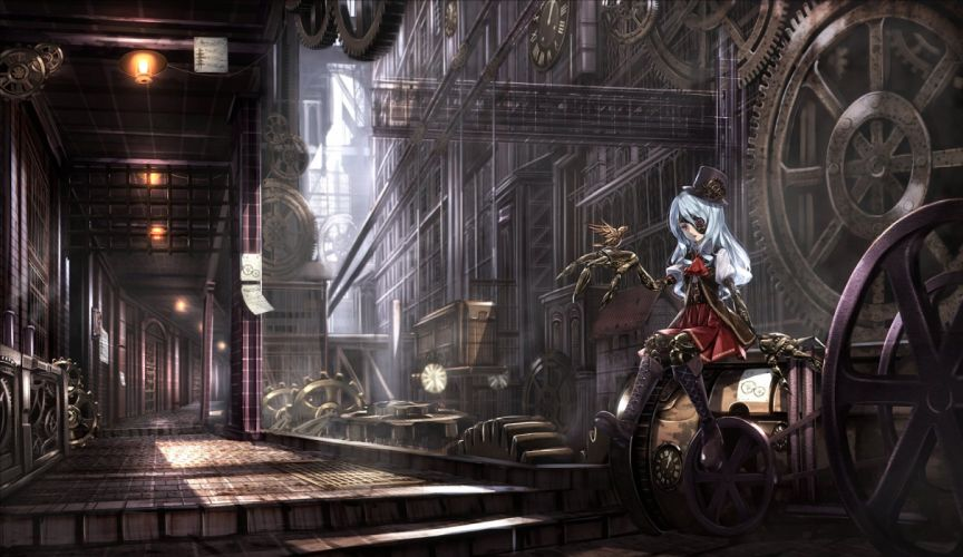boots eyepatch hat industrial long hair original red eyes robot ryosios stairs white hair wallpaper