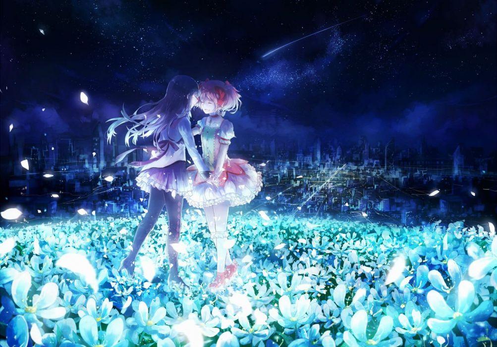 girls akemi homura city domik dress flowers kaname madoka mahou shoujo madoka magica night petals stars wallpaper