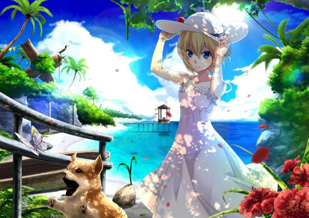 animal aono meri blonde hair blue eyes butterfly clouds dog dress flowers hat original short hair sky summer dress tree water wallpaper